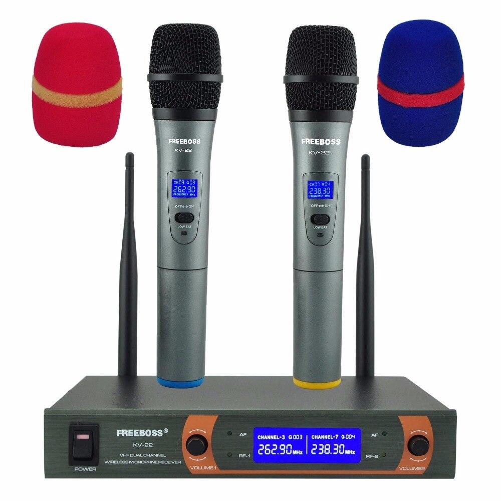 Micrófono inalámbrico de mano KV-22 VHF 2, cápsula dinámica, micrófono de Karaoke inalámbrico de salida mixta para fiesta familiar