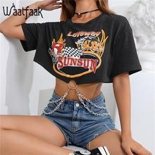 Waatfaak anneau chaîne épissure Streetwear imprimé noir T-shirt femme Oversize coton haut court T-shirt femmes Harajuku été Sexy
