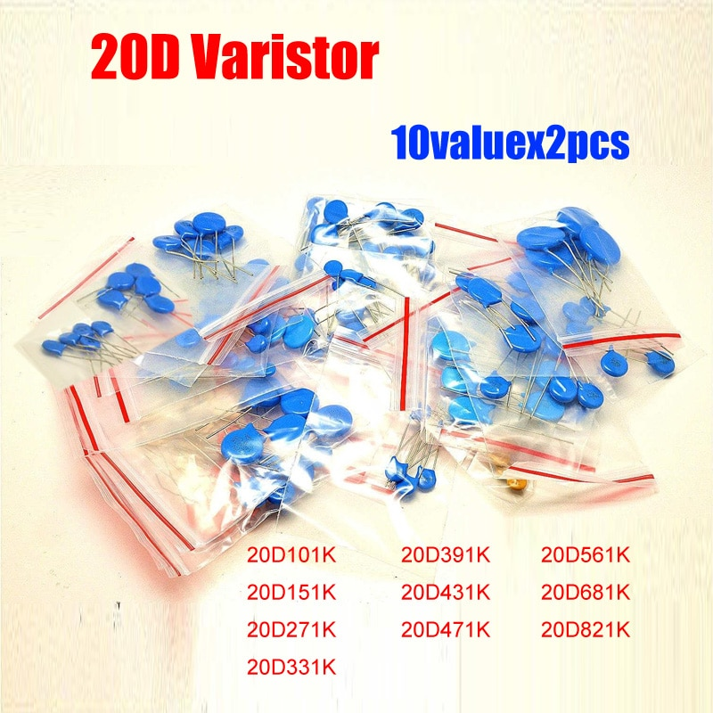 10valuesx2pcs = 20 pces tensão dependente resistor kit 20d101k 20d471k 20d561k etc. pacote de resistor varistor