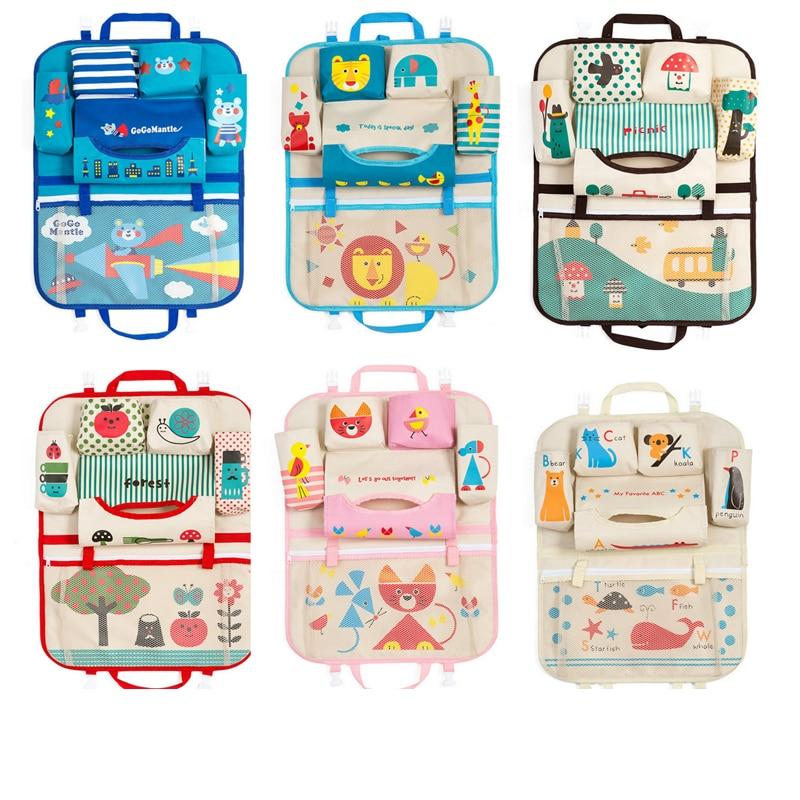 Creativo organizador de asiento trasero de coche de dibujos animados bolsa de almacenamiento colgante juguetes para bebés niños cubierta protectora de viaje accesorios interiores de automóvil