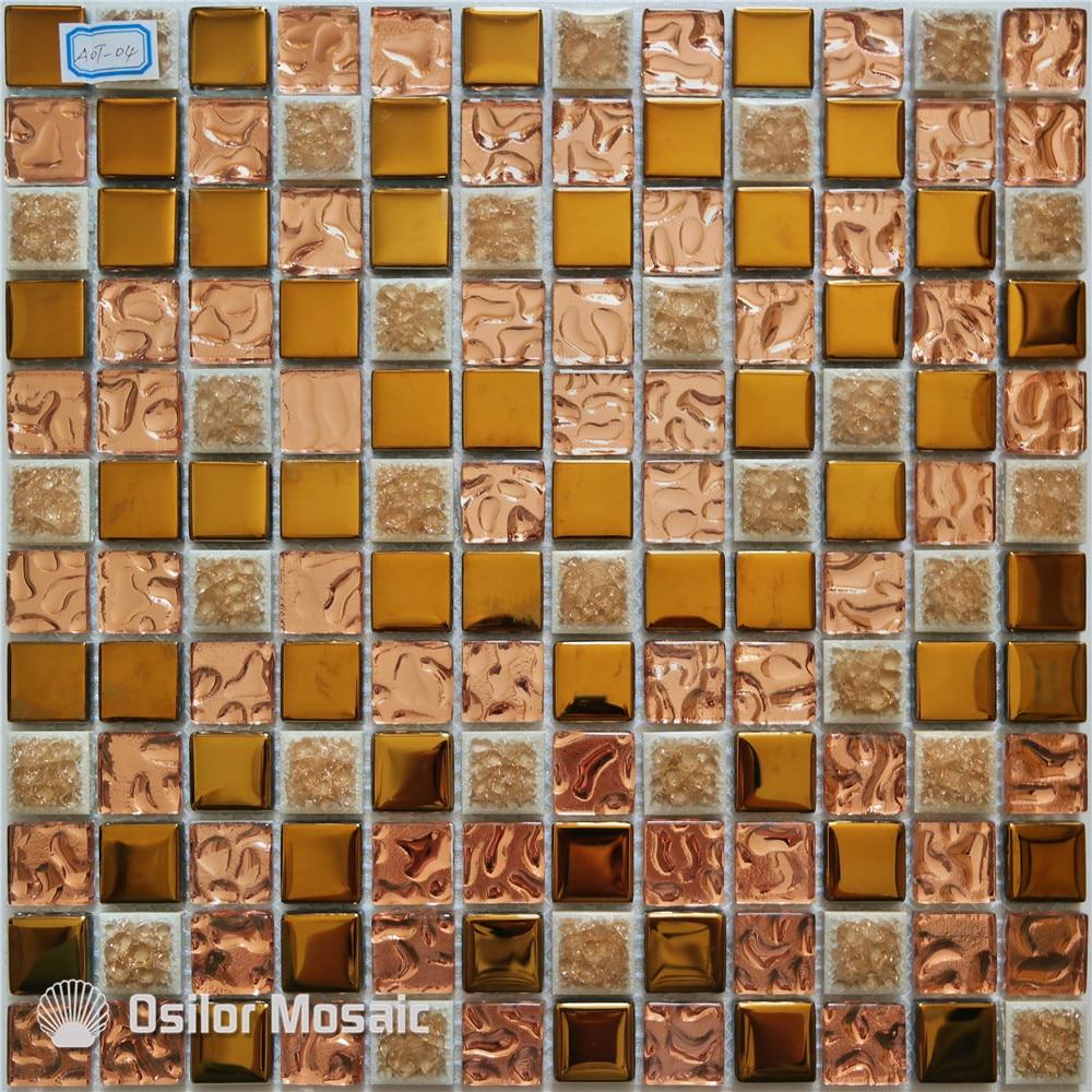 O envio gratuito de ouro mosaico de vidro telha de cerâmica e metal telha da parede da telha de mosaico para a decoração da casa interior