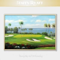 free shipping cheap price hand painted high quality play golf landscape oil painting on canvas beautiful playing golf painting