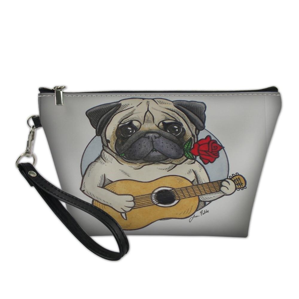 Play Guitar Pug Dog Women PU Cosmetic Bag Function Travel Trunk Makeup Bag Zipper Make Up Organizer Storage Pouch Toiletry Box