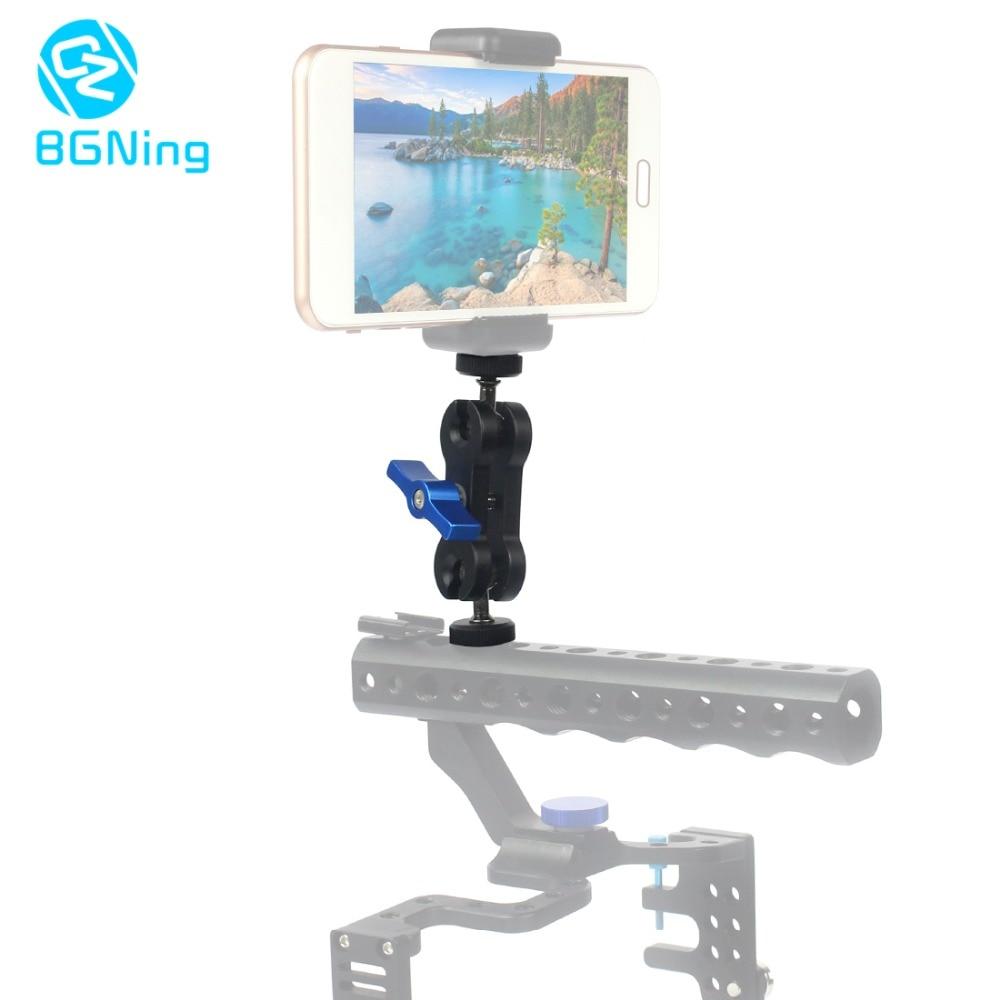 "BGNING Multi-Function Dual Ball Head Hot Shoe 1/4"" Tripod Magic Arm Mount Adapter DSLR Camera Accessory for Monitor LED Light"