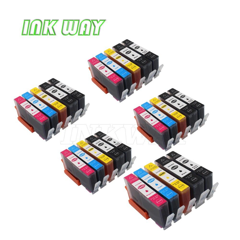 Ink WAY 5 colores 5 Juegos de tinta de repuesto para hp 564xl para hp Officejet 4620, Photosmart 5400,5510 (B111h), 5514,5515