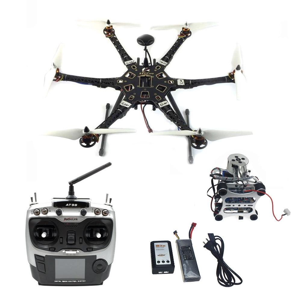 DIY Drone HMF S550 F550 Kit de actualización con tren de aterrizaje & APM 2,8 controlador de vuelo GPS brújula y Gimbal AT9S transmisor