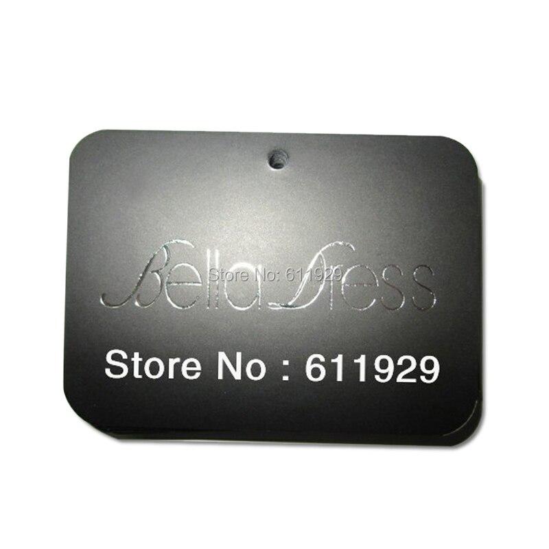 free shipping customized silver logo stamping hang tag/clothing glossy paper swing tag/garment main label/black tags 1000 pcs