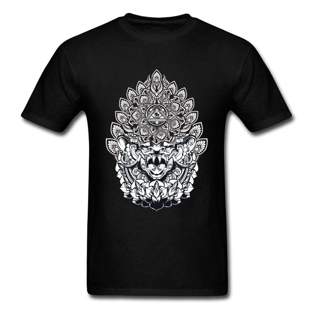 Camiseta de Mandala de Bali, camisetas de algodón puro para hombres, camisetas personalizadas de manga corta, camisetas baratas para el día de Año Nuevo, camisetas de cuello redondo, camiseta informal negra
