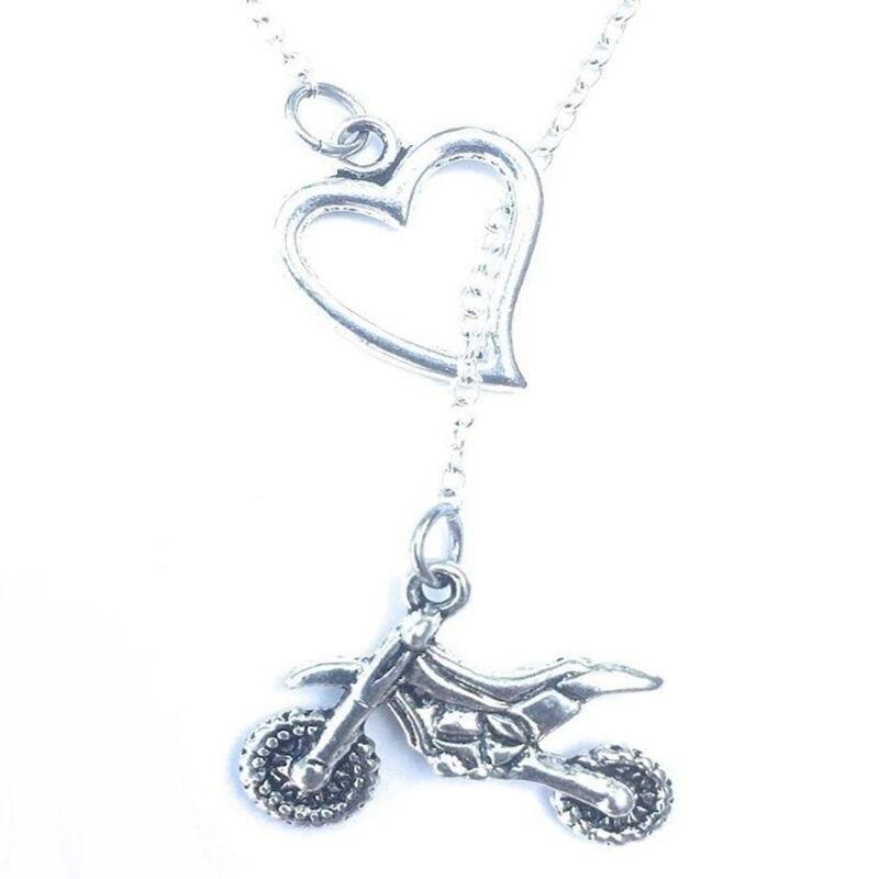Amor corazón Lariat Off-road Motocross COLLAR COLGANTE Vintage plata Punk collares y gargantillas amistad collar joyería mujer regalo