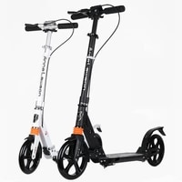adult scooter with double shock absorption double brake and 20cm pu wheel adult foldable kick scooter
