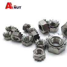 Écrous m3 m4 m5 m6 m8 m10 K   Écrou hexagonal dentelé en acier inoxydable sus304 de type K, écrous à Kep métrique