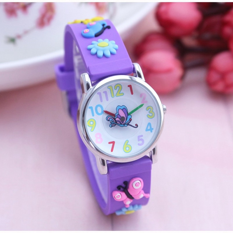 New Arrival Butterfly Cartoon 3D Children's Student Wristwatch Fashion Kids Watch For Boy Clock Ladi