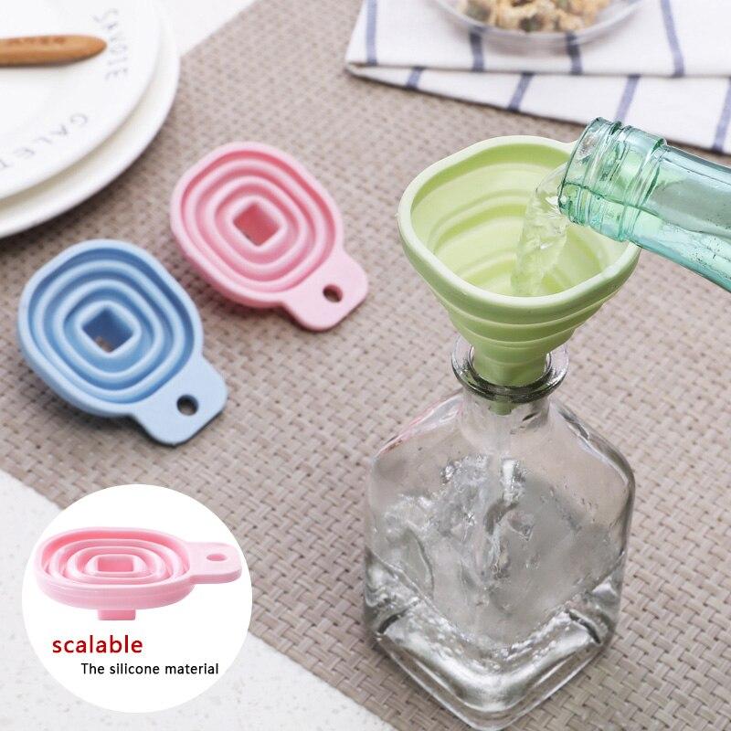 Küche home mini food grade silikon klapp trichter küche gadget kreative teleskop flüssigkeit trichter