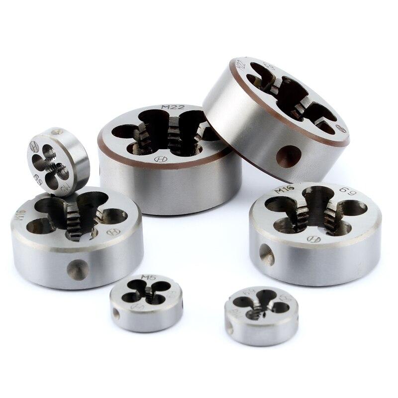 Aleación de acero 1 Uds duro redondo Die toque roscado métrico Mini troqueles Set M3 M4 M5 M6 M8 M10 M12 mano derecha M14 M16 M18 M20 M27 M30