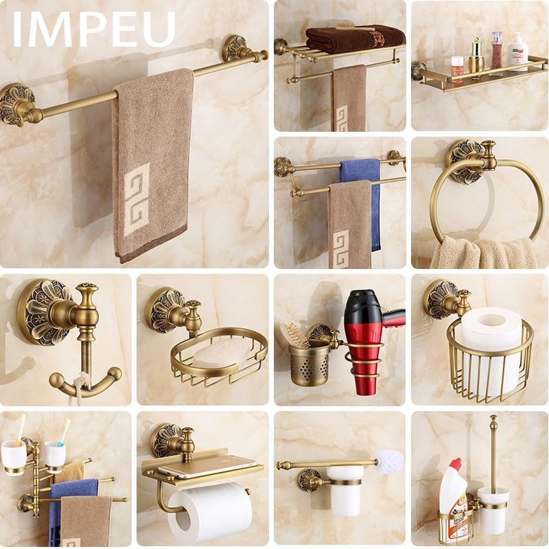 Paquete de accesorios de baño de bronce antiguo todo en uno, toallero, soporte de cepillo de baño, gancho de Bata, soporte de secador de pelo