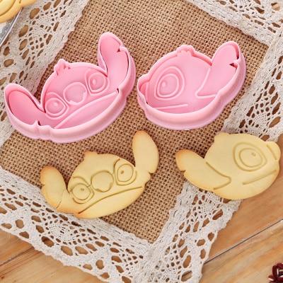 2 unids/set Lilo & Stitch Plung molde para galletas y pasteles cortador Fondant herramienta de hornear galleta bonita forma de dibujos animados molde de galletas herramientas de hornear