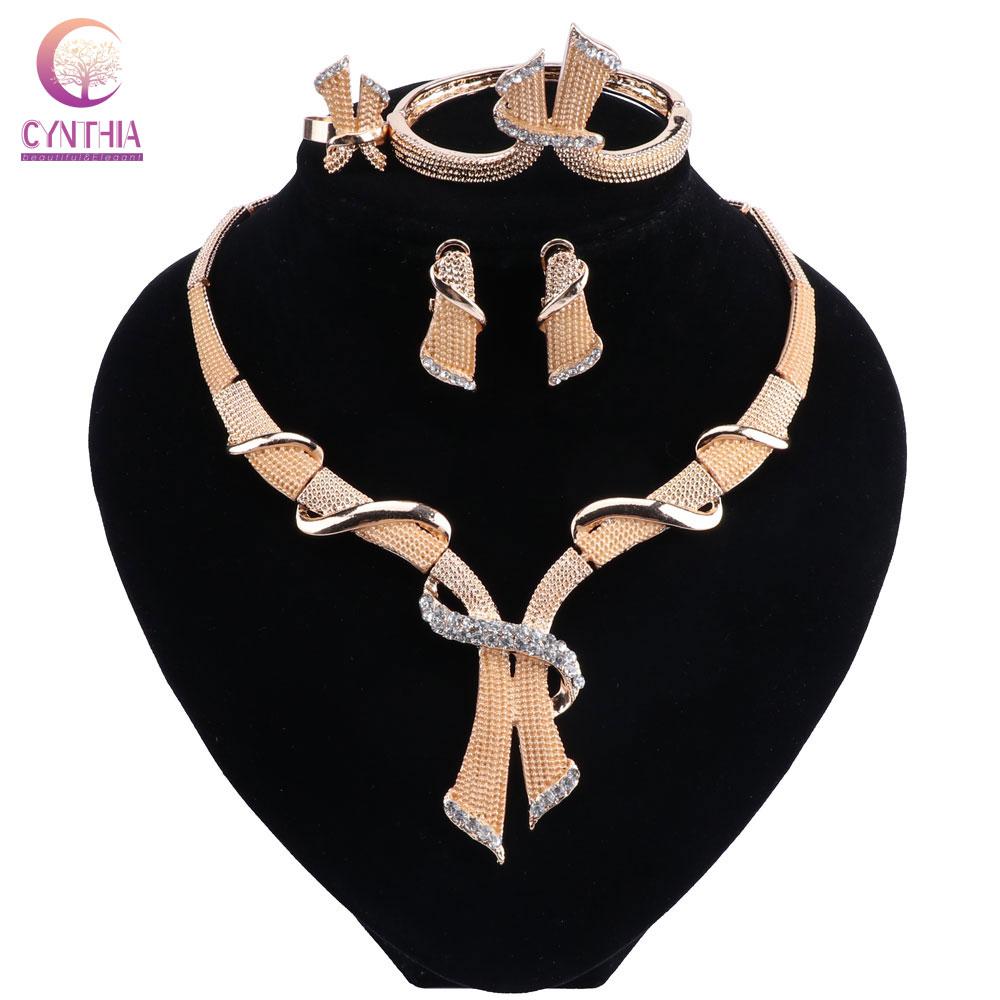 Модный свадебный костюм из Дубая, ювелирный набор, ожерелье, браслет, кольцо, серьги, 4 шт., нигерийские вечерние серьги, набор для женщин