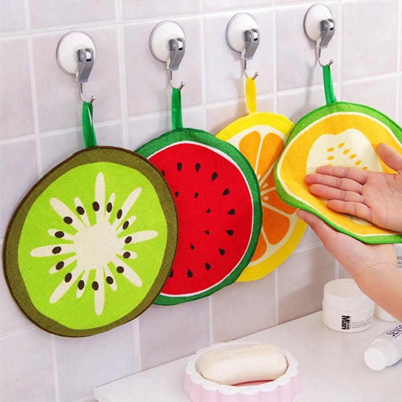 Новинка 2 шт. милое фруктовое полотенце для рук быстросохнущее Впитывающее салфетка для мытья посуды тряпки для мытья посуды кухонные полот...