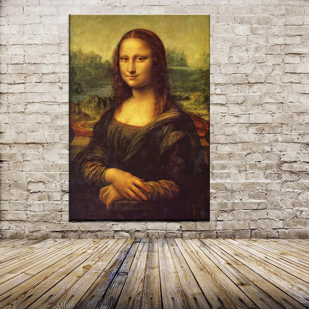 Envío gratis de alta calidad de algodón impreso para pared pintura al óleo Mona Lisa sonrisa de Leonardo Di ser Piero Da Vinci 40x60CM