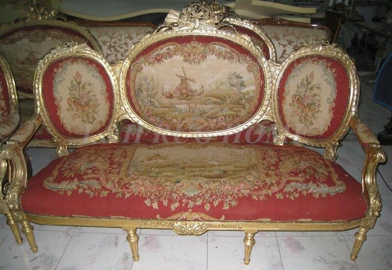 Antigo conjunto de sofá e cadeiras, mobiliário antigo da sala de estar artesanal, capa de sofá aubusson, material de lã escultura artificial