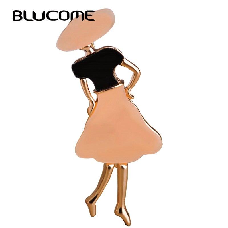 Modelo de broches de niña de Blucome para mujer, accesorios de sombrero negros, broche de acrílico para bolso de fiesta, broches para Hijab