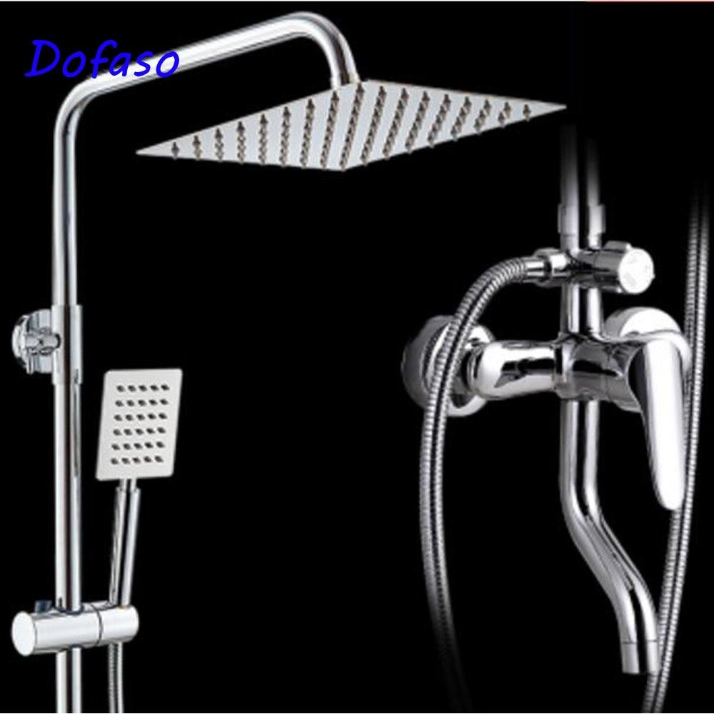 Robinet de douche inoxydable de salle de bains   De qualité Dofaso avec douche de pluie carrée type de douche à main et à pomme