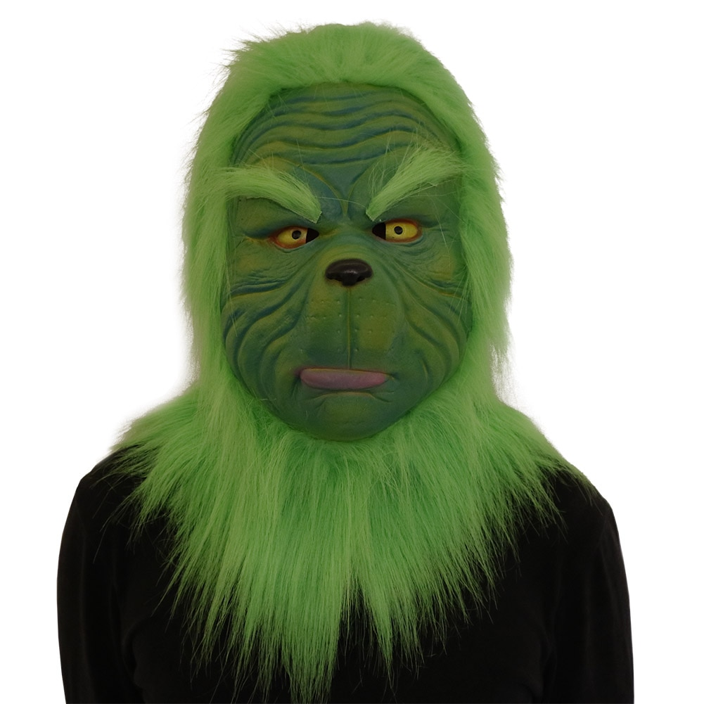 The Grinch Mask Costume Christmas Accessory Green Full Head Mask with Fur Helmet Headgear Halloween Accessory