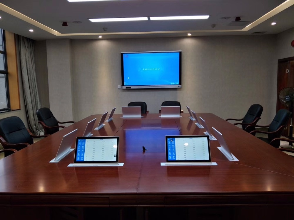 Motorized pop up LCD Monitor Lift with Widescreen for Conference Table extra thin with touch screen