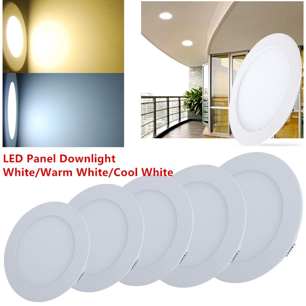 مصباح لوحة LED فائق النحافة ، مصباح سقف دائري SMD2835 ، 3 ، 4 ، 6 ، 9 ، 12 ، 15 ، 18 واط ، تيار متردد 85-265 فولت ، 10 قطع