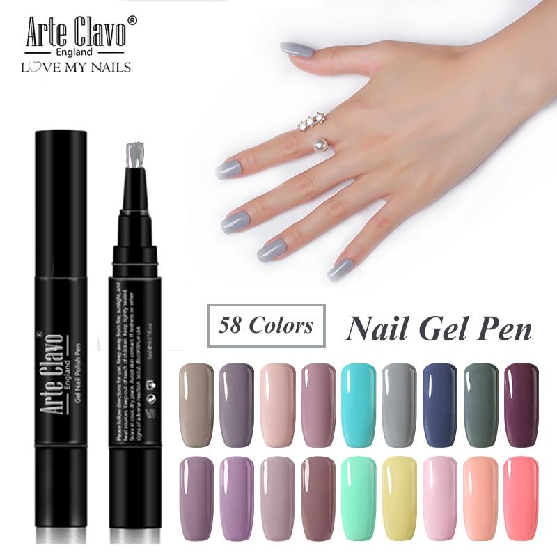 Arte Clavo 5 ml Gel Nail Varnish Pen 3 Steps Nail Polish Semi Permanant Soak Off UV Hybrid Primer Nail Art Tool Nail Gel Polish