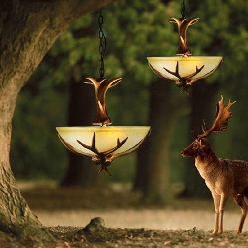 Antler Lustre de Cristal Para O País da Europa Retro Resina Cervos Chifre Lâmpada lustre Sala de estar iluminação lampadari Para A Decoração Home Luz