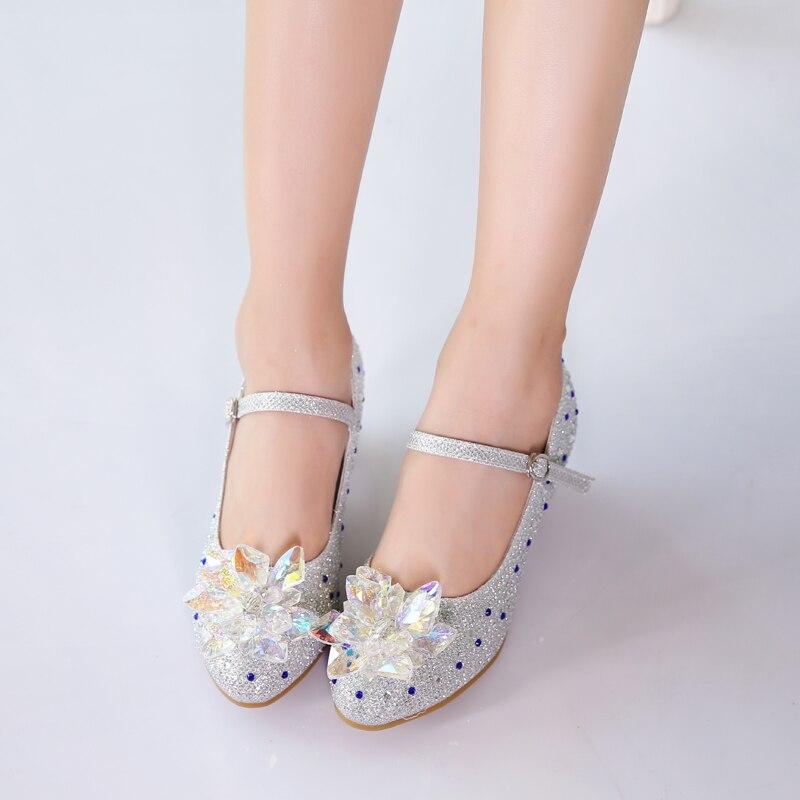 Girls Princess Shoes 2020 New Crystal Children Princess Rhinestone High Heels Dancing Kids dress Shoes size 28~38 enlarge