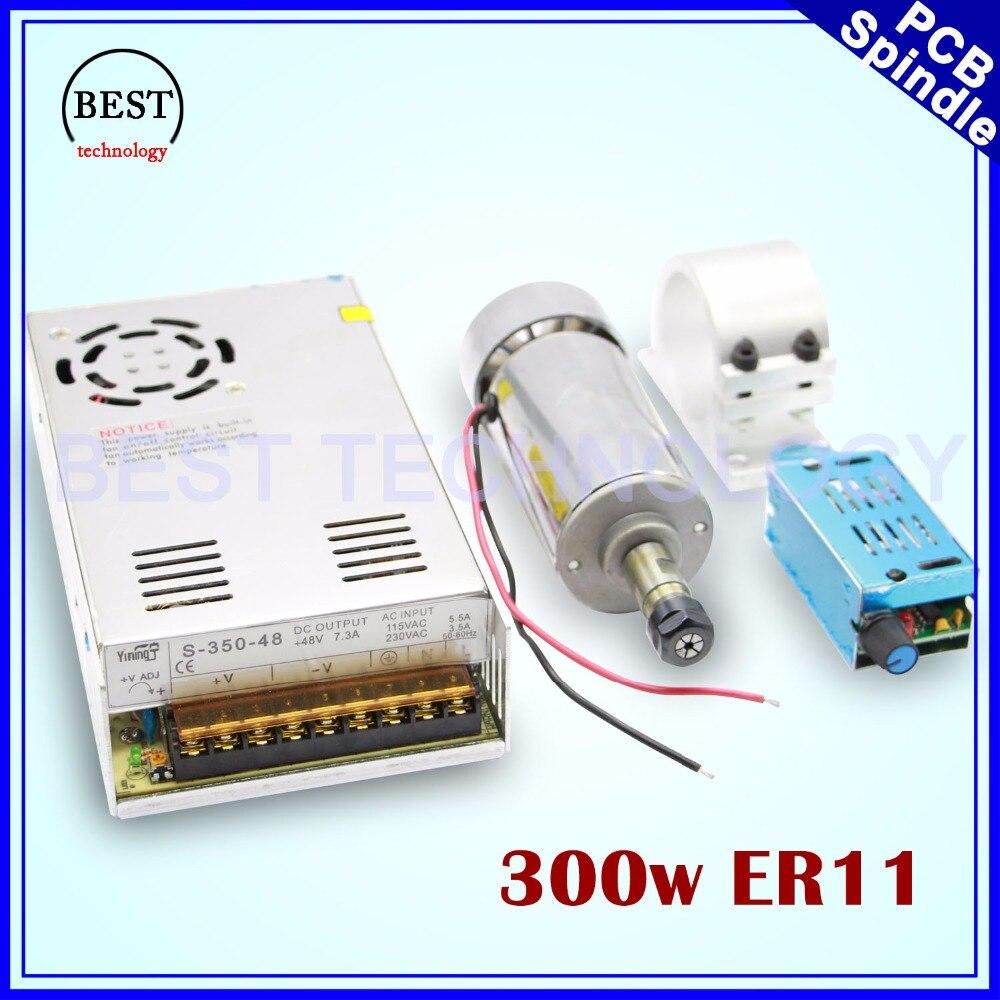 Высокоскоростной шпиндель с ЧПУ 300w ER11, комплект с электродвигателем с воздушным охлаждением 300 w, шпиндель PCB для гравировки, фрезерный станок с ЧПУ