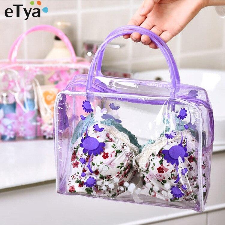 ETya, bolso cosmético transparente con flores de PVC para mujer, bolso de viaje de moda para chica, neceser, neceser, estuche organizador de maquillaje, bolso de mano