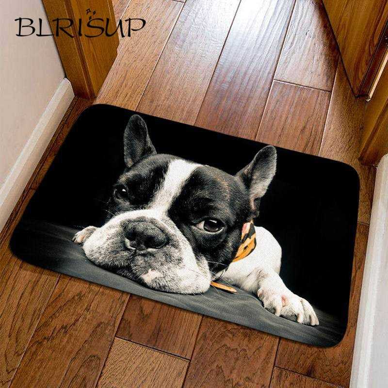 Alfombra antideslizante para perro BLRISUP, felpudo para sala de estar y baño, Felpudo de bienvenida para interiores y exteriores, felpudo bonito de Bulldog, alfombras de cocina