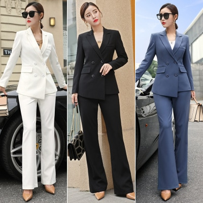 Ropa profesional para mujer, traje de otoño, nueva moda OL, pequeña fragancia, temperamento, ropa profesional, pantalones de pierna ancha británicos