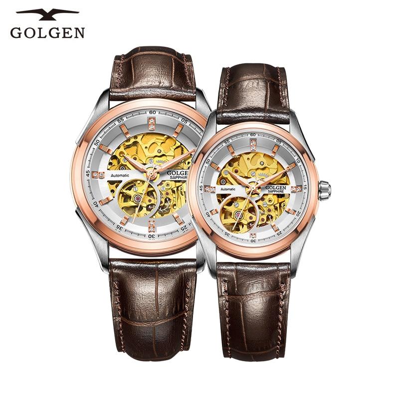 GOLGEN الفاخرة عاشق الساعات الهيكل العظمي النساء الرجال الميكانيكية ساعات المعصم 50 متر مقاوم للماء زوجين هدية