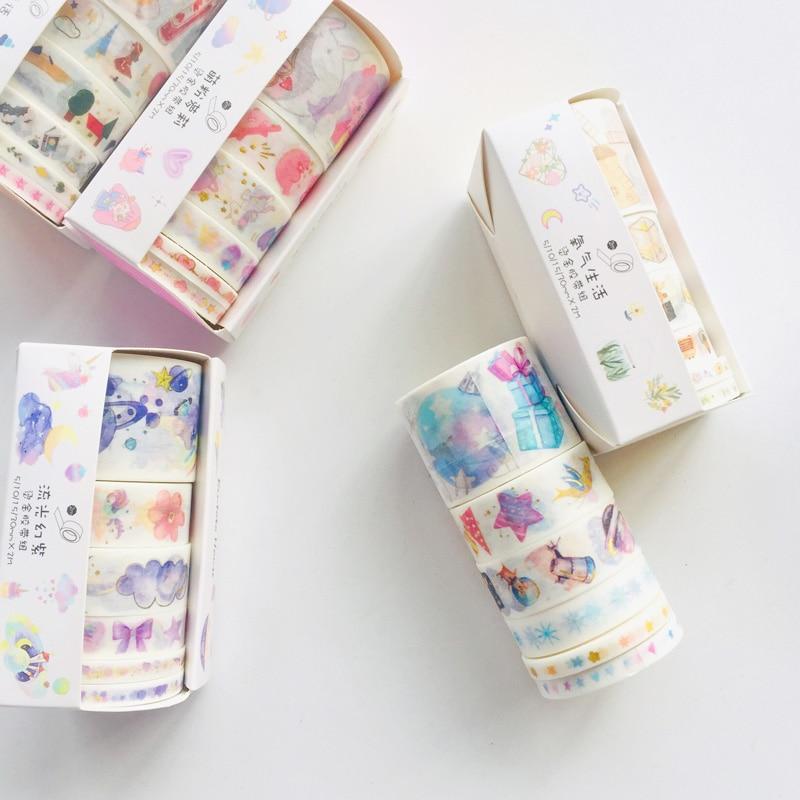 6 Rolls/Box Starry Sky Sakura Little Girls Hot Stamping Masking Washi Tape Hand Account Notebook Computer Decor