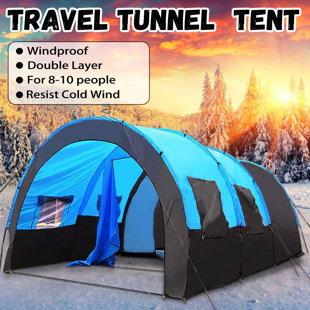 8-10 pessoas viagem acampamento caminhadas dupla camada oxford pano impermeável portátil barraca ao ar livre de grande resistência