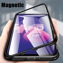 Magnetic Flip Case for OPPO A9 A5 2020 A7 A5S A5 A3S F7 F9 F11 Reno 2Z Realme 5 5S 3 X2 Pro Glass Metal Frame Protection Cover