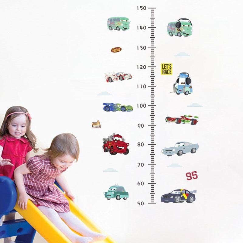 3d наклейки на стену с измерением высоты машин для детских комнат съемные Мультяшные Наклейки на стены для детского сада