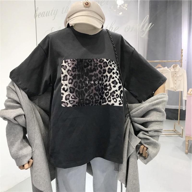 Женская Винтажная Футболка harajuku, летняя футболка с леопардовым принтом, Корейская одежда, черная футболка ulzzang, свободные белые футболки