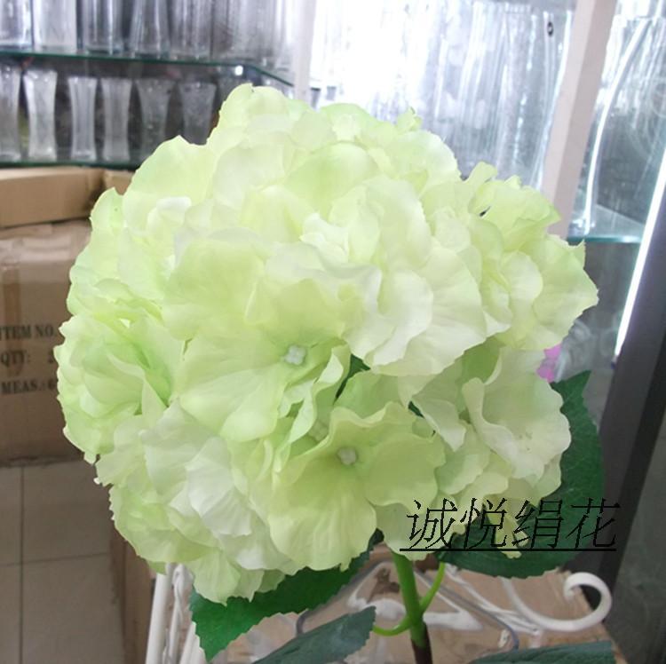 Flores decorativas para sala de estar de Hydrangea, ramo de flores de plástico seco para decoración de interiores, flor de seda
