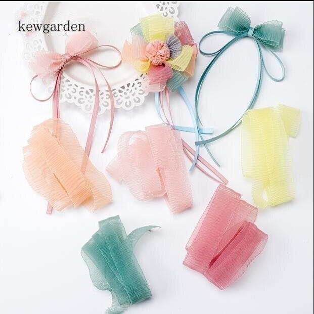 """Kewgarden Elastische Welle Voile Bänder 25mm 1 """"Handgemachte Band DIY Hairbow Spitze Gaze Satin Band Verpackung Riband Gurtband 5 Yards"""