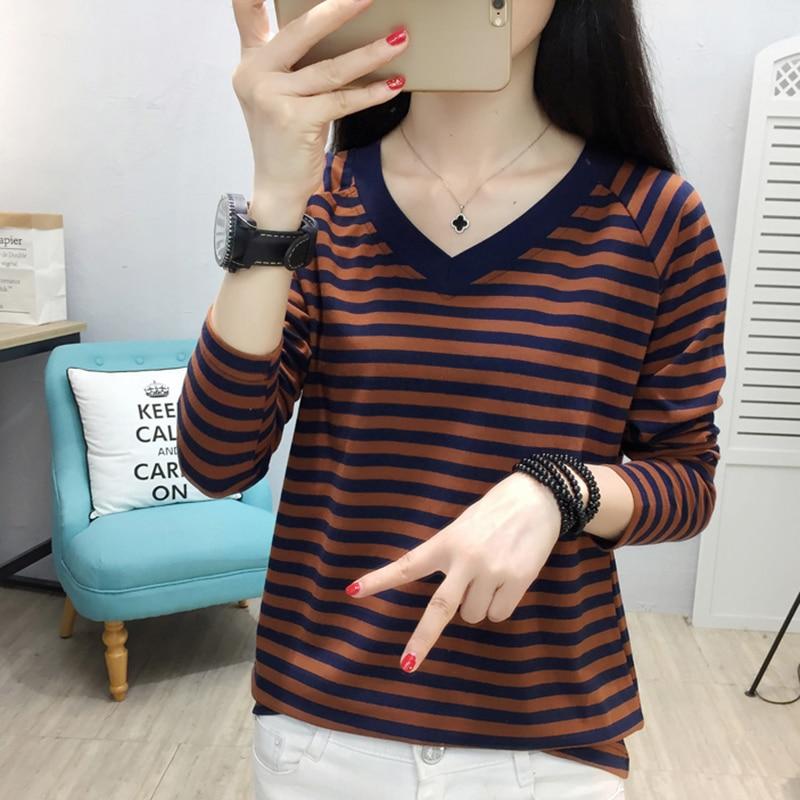 Shintimes, camiseta Vintage a rayas, camiseta para mujer de manga larga con cuello en V de algodón 2020, Tops para mujer, ropa de moda coreana, camiseta para mujer