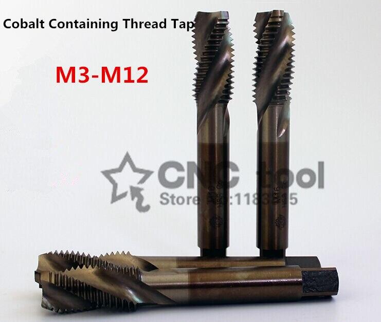 10 Uds. M3-M12, cobalto, acero de alta velocidad, macho máquina espiral, grifo acanalado, grifo especial de acero inoxidable (M3/M4/M5/M6/M8/M10/M12)