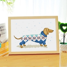 Winter sausage dog cross stitch kit DMC brand thread animal dog count canvas fabric embroidery handmade needlework