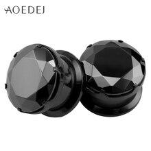 4-16mm de cristal negro enchufes y túneles tapones para los oídos piedra expansor piercing medidores de oreja camillas de tornillo de acero inoxidable de 8mm