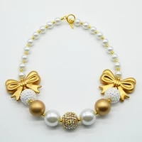 2015 new fashion girls gold bow necklace kids handmade gold white chunky bubblegum beads necklace toddler infant jewelry