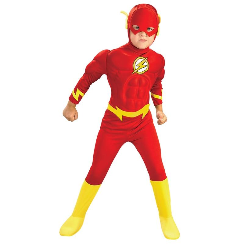 Boy The Flash Muscle Superhero Fancy Dress Kids Fantasy Comics Movie Carnival Party Halloween Cosplay Costumes недорого